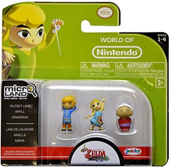 World of Nintendo New Super Mario Bros U Micro Land Series 4 Outset Link, Aryll & Grandma 1-Inch Mini Figure 3-Pack