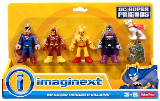 Fisher Price DC Super Friends Super Heroes & Villains Superman, Flash, Prof. Zoom, Bizarro & Krypto Exclusive 3-Inch Mini Figure 5-Pack