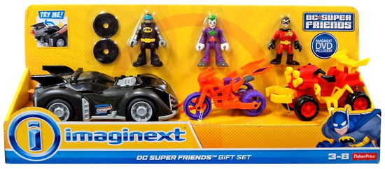 Fisher Price DC Super Friends Imaginext Batman, Joker & Robin with Vehicles Exclusive 3-Inch Gift Set
