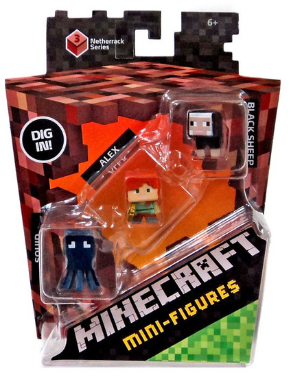 Minecraft Netherrack Series 3 Squid, Alex & Black Sheep Mini Figure 3-Pack