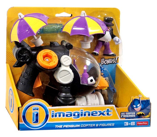 Fisher Price DC Super Friends Imaginext The Penguin Copter 3-Inch Figure Set [Bonus Batman Figure]
