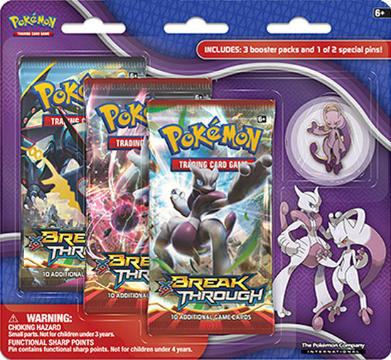Pokemon Trading Card Game XY BREAKthrough Mega Mewtwo Y Pin Collection [3 Booster Packs & Pin]