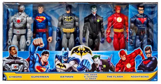 DC Universe Justice League Unlimited Cyborg, Superman, Batman, Joker, Flash & Nightwing Action Figure 6-Pack