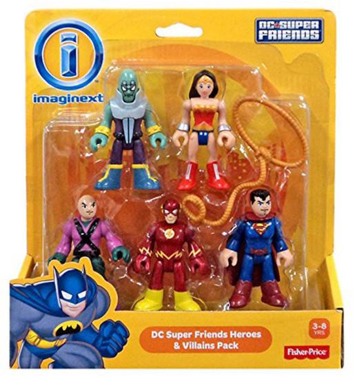 Fisher Price DC Super Friends Imaginext Batman Heroes & Villains Brainiac, Wonder Woman, Superman, Flash & Lex Luthor Exclusive 3-Inch Mini Figure 5-Pack
