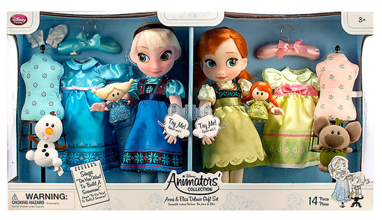 Disney Frozen Animators' Collection Anna & Elsa Deluxe 16-Inch Doll 2-Pack