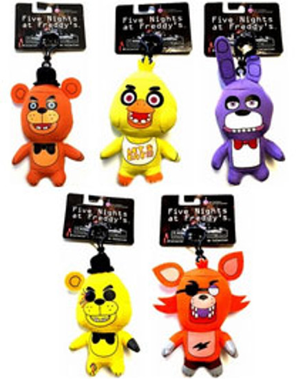 Five Nights at Freddy's 4-Inch Set of 5 Plush Clip Ons