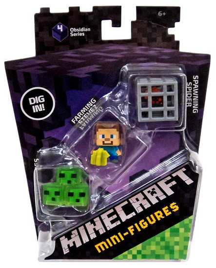 Minecraft Obsidian Series 4 Spawning Spider, Farming Steve & Slime Cubes Mini Figure 3-Pack