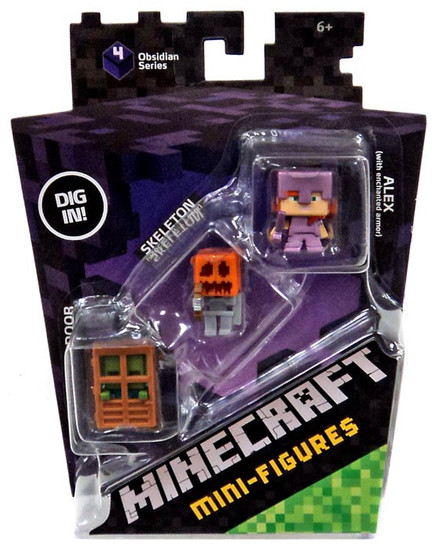 Minecraft Obsidian Series 4 Alex with Enchanted Armor, Skeleton with Pumpkin Armor & Zombie At Door Mini Figure 3-Pack