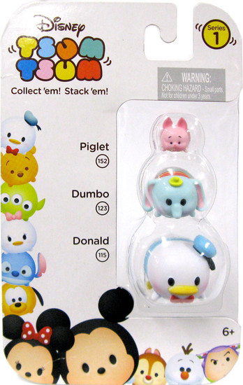 Disney Tsum Tsum Series 1 Piglet, Dumbo & Donald 152, 123 & 115 Minifigure 3-Pack