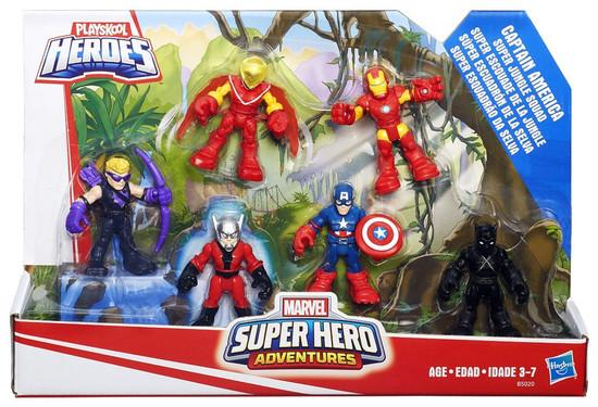 Marvel Playskool Heroes Super Hero Adventures Captain America Super Jungle Squad Mini Figure 6-Pack