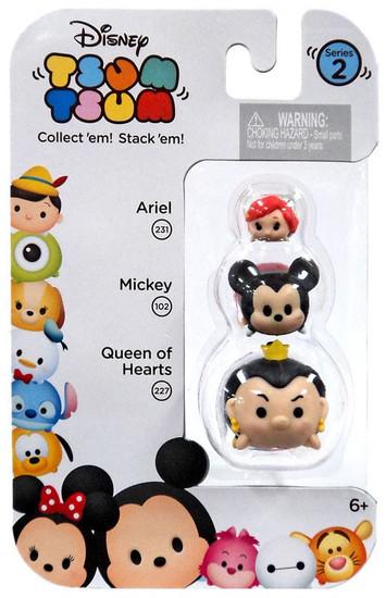 Disney Tsum Tsum Series 2 Ariel, Mickey & Queen of Hearts Minifigure 3-Pack #231, 102 & 227