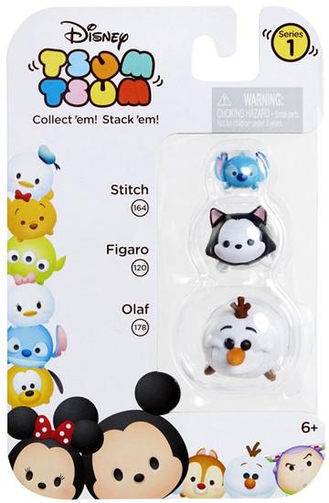 Disney Tsum Tsum Series 1 Stitch, Figaro & Olaf Minifigure 3-Pack #164, 120 & 178