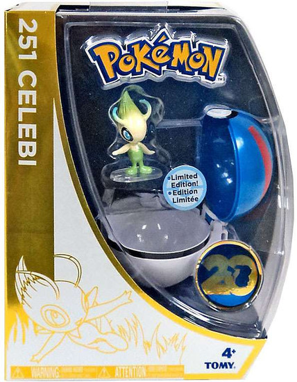 Pokemon 20th Anniversary Clip n Carry Pokeball Celebi with Great Ball Exclusive Figure Set [20th Anniversary]