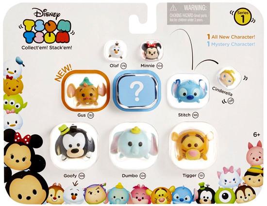 Disney Tsum Tsum Series 1 Olaf, Minnie, Cinderella, Gus, Stitch, Goofy, Dumbo & Tigger 1-Inch Minifigure 9-Pack