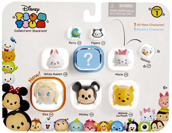 Disney Tsum Tsum Series 1 Perry, Figaro, Donald, White Rabbit, Marie, Elsa, Mickey & Pooh 1-Inch Minifigure 9-Pack