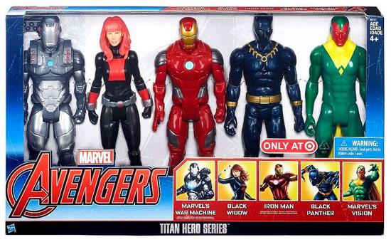 Marvel Avengers Titan Hero Series War Machine, Black Widow, Iron Man, Black Panther & Vision Exclusive Action Figure