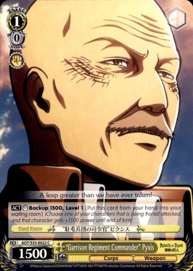 """Weiss Schwarz Attack on Titan Common """"Garrison Regiment Commander"""" Pyxis E022"""