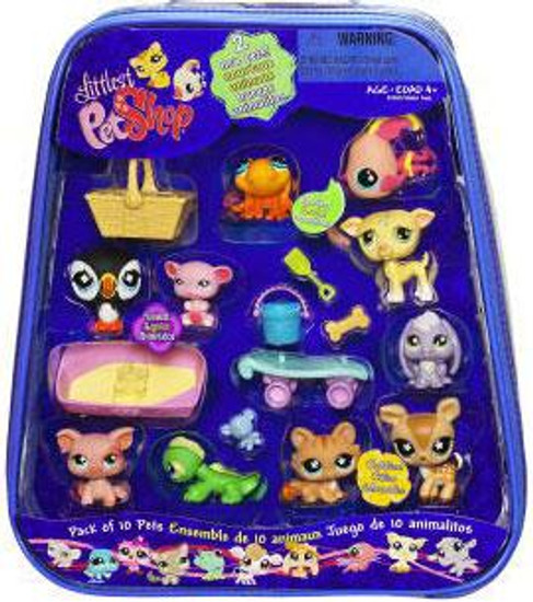 Littlest Pet Shop Pack of 10 Pets Exclusive Mini Figure Set [Includes Puffin, Fish, Whippet, Deer & More!]
