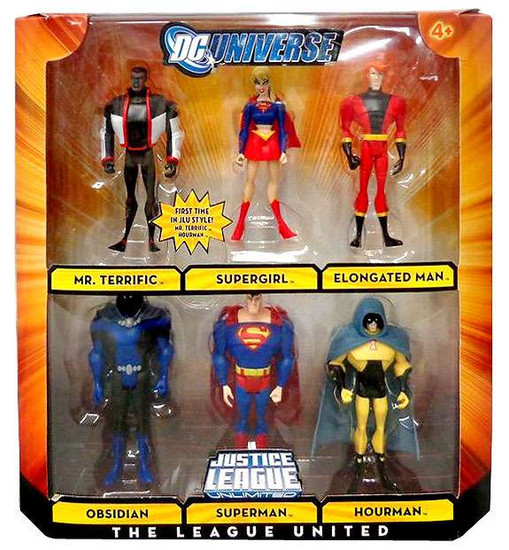 DC Universe Justice League Unlimited The League United Exclusive Action Figure 6-Pack [Superman, Supergirl, Mr. Terrific, Elongated Man, Obsidian & Hourman]