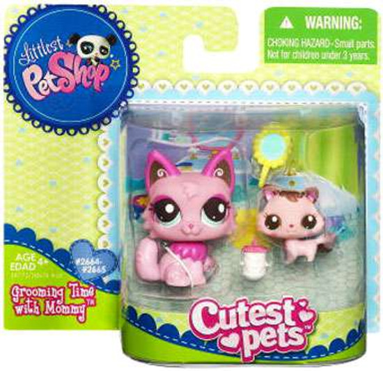 Littlest Pet Shop Cutest Pets Mommy & Baby Cats Figure 2 Pack [Grooming Time]