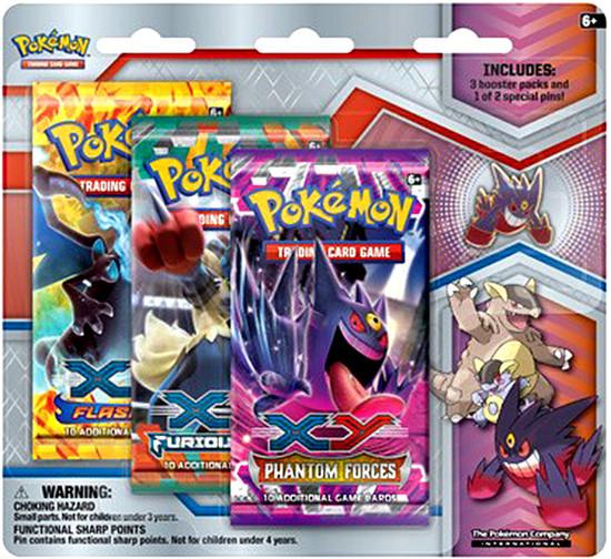 Pokemon Trading Card Game XY Mega Evolution Mega Gengar Pin Collection [3 Booster Packs & Pin]