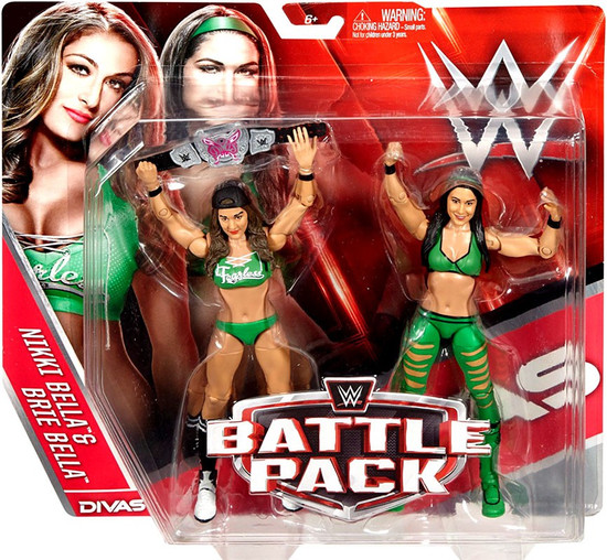 WWE Wrestling Battle Pack Series 38 Nikki & Brie Bella Twins Action Figure 2-Pack [Green Outfits]