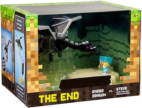 Minecraft The End Mini Figure Playset [Ender Dragon vs. Steve with Bow & Diamond Armor]