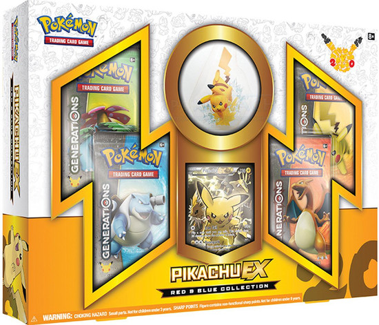 Pokemon Trading Card Game Generations Pikachu EX Red & Blue Collection [4 Booster Packs, Figure & Promo Card]