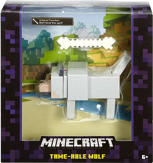 Minecraft Survival Mode Tame-Able Wolf Action Figure