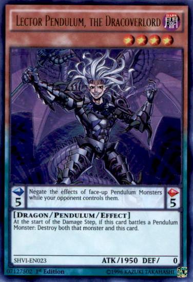 YuGiOh Shining Victories Ultra Rare Lector Pendulum, the Dracoverlord SHVI-EN023