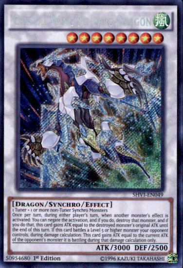 YuGiOh Shining Victories Secret Rare Crystal Wing Synchro Dragon SHVI-EN049