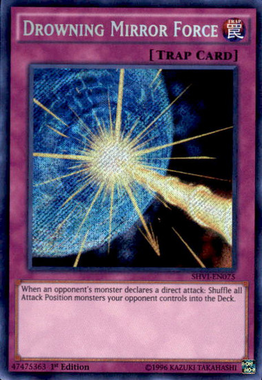 YuGiOh Shining Victories Secret Rare Drowning Mirror Force SHVI-EN075
