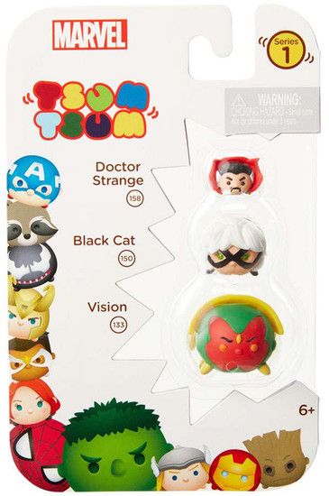 Marvel Tsum Tsum Series 1 Doctor Strange, Black Cat & Vision 1-Inch Minifigure 3-Pack #158, 150 & 133