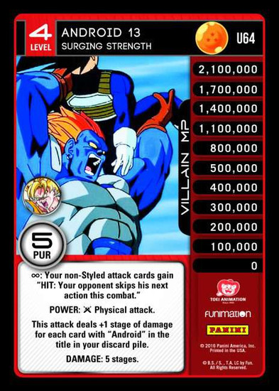 Dragon Ball Z Vengeance Uncommon Foil Android 13 - Surging Strength U64