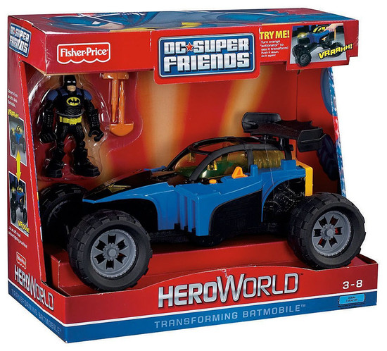 Fisher Price Batman DC Super Friends Hero World Transforming Batmobile Exclusive Action Figure Set [Damaged Package]