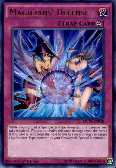 YuGiOh Dark Side of Dimensions Movie Ultra Rare Magicians' Defense MVP1-EN028
