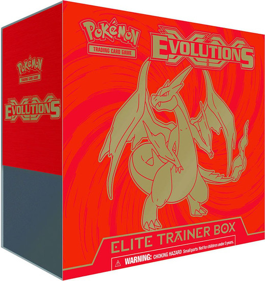 Pokemon Trading Card Game XY Evolutions Mega Charizard Elite Trainer Box [8 Booster Packs, 65 Card Sleeves, 45 Energy Cards & More]