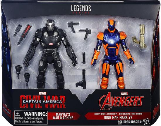 Captain America Civil War Marvel Legends War Machine & Iron Man Mark 27 Exclusive Action Figure 2-Pack