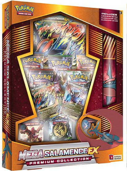 Pokemon Trading Card Game Mega Salamence-EX Premium Collection [8 Booster Packs, 2 Promo Cards, Oversize Card, Coin & More ]