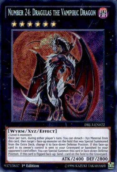 YuGiOh Dragons of Legend: Unleashed Secret Rare Number 24: Dragulas the Vampiric Dragon DRL3-EN022