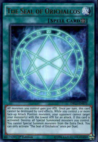 YuGiOh Dragons of Legend: Unleashed Ultra Rare The Seal of Orichalcos DRL3-EN070