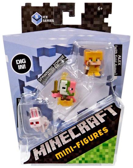 Minecraft Ice Series 5 Killer Rabbit, Spawning Zombie & Alex with Gold Armor Mini Figure 3-Pack