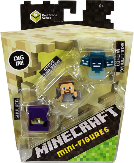 Minecraft End Stone Series 6 Shulker, Steve with Shield & Skullfire Wither Mini Figure 3-Pack