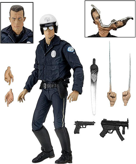 NECA Terminator 2 Judgment Day T-1000 Motorcycle Cop Action Figure [Ultimate Version]