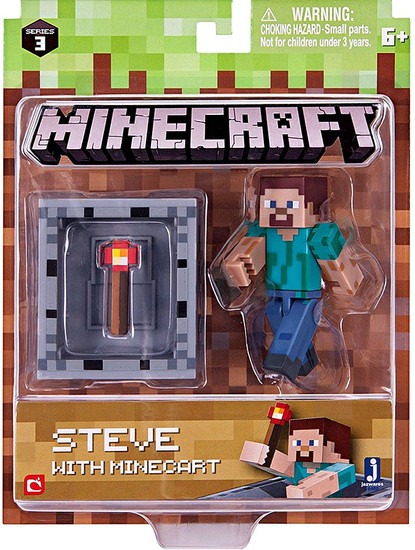 Minecraft Series 3 Steve With Minecart Action Figure Set