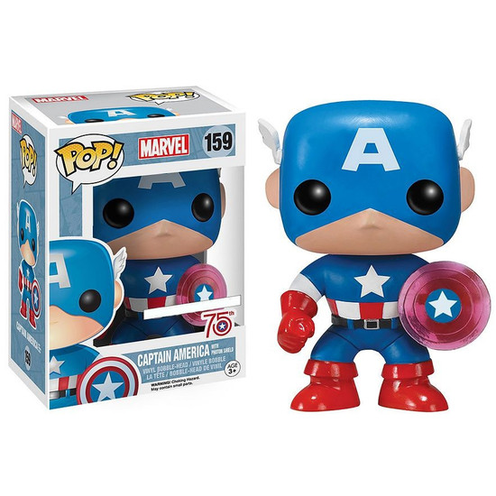 Funko POP! Marvel Captain America Exclusive Vinyl Bobble Head #159 [Translucent Shield, 75th Anniversary]