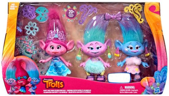 Trolls Poppy & Twins Celebration Exclusive Figure 3-Pack