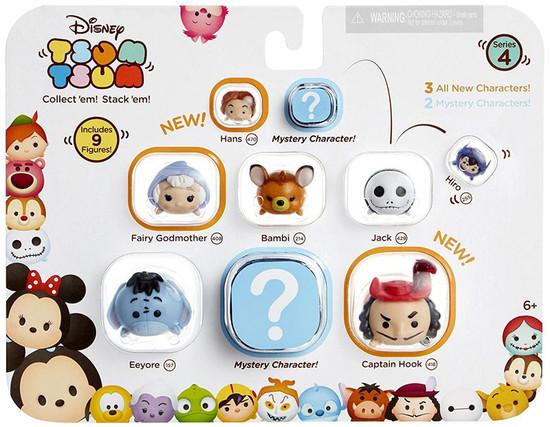 Disney Tsum Tsum Series 4 Hans, Fairy Godmother, Bambi, Jack, Hiro, Eeyore, Captain Hook 1-Inch Minifigure 9-Pack