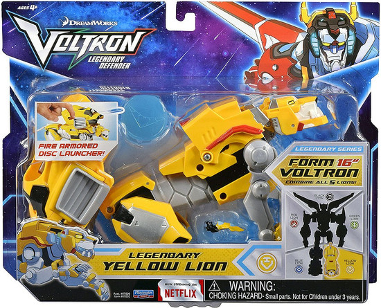 Voltron Legendary Defender Yellow Lion Combinable Action Figure [Fire Armored Disc Launcher]