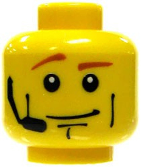 Brown Eyebrows, White Pupils, Headset & Smirk Minifigure Head [Yellow Loose]